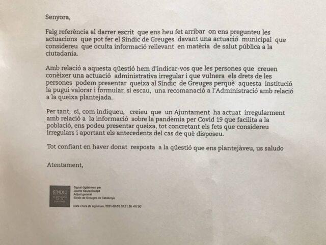 EL SÍNDIC DE GREUGES RESPON A FIGUERENCS AFECTATS PER LES MENTIDES D'AGNÉS LLADÓ SOBRE LA COVID-19